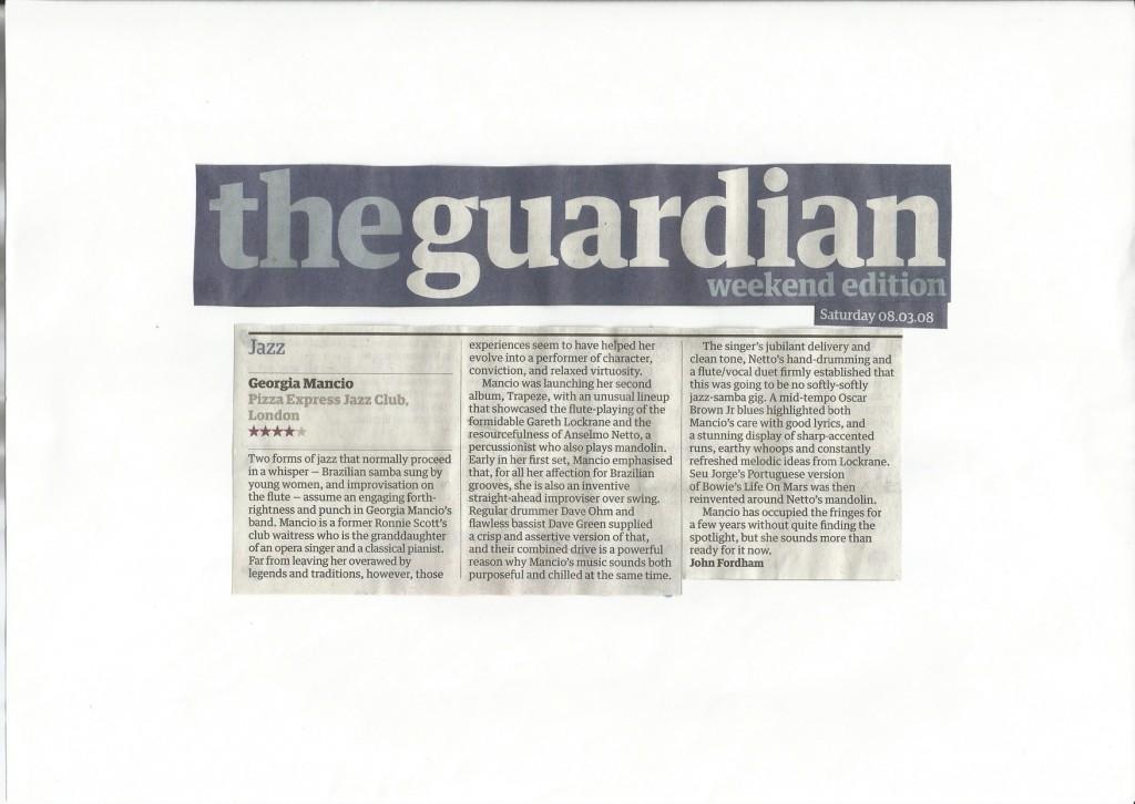 Georgia mancio Trapeze album launch live review The Guardian 2008