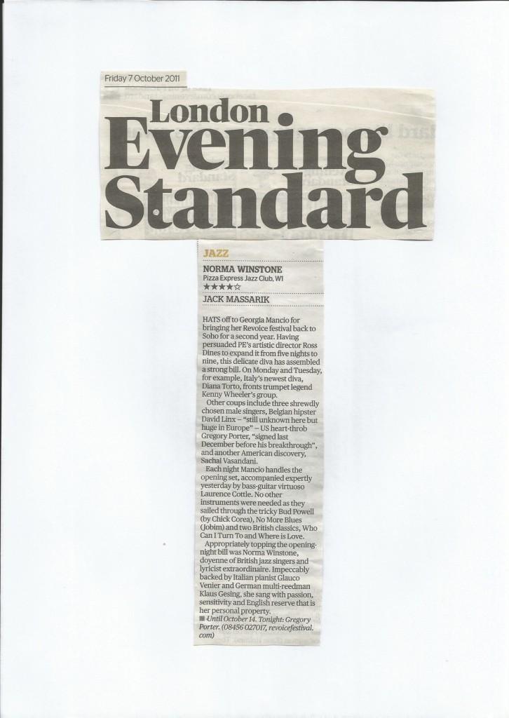 Georgia Mancio ReVoice Festival Rebecca Parris review Evening Standard 2011