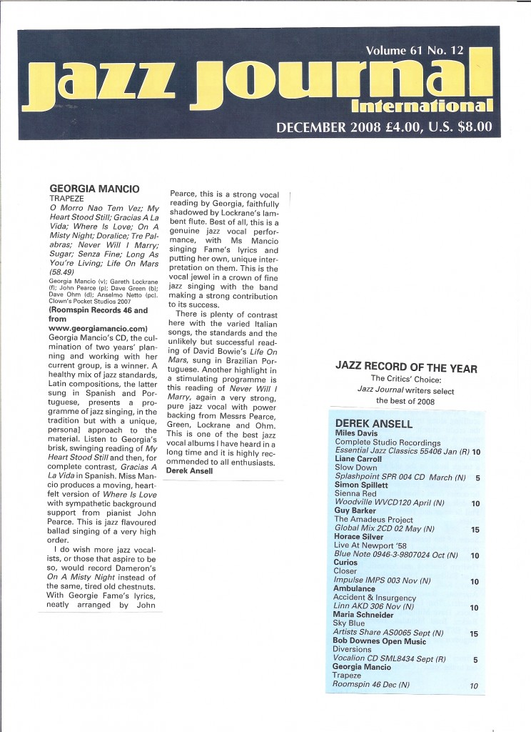 Jazz Journal 2008, Trapeze review