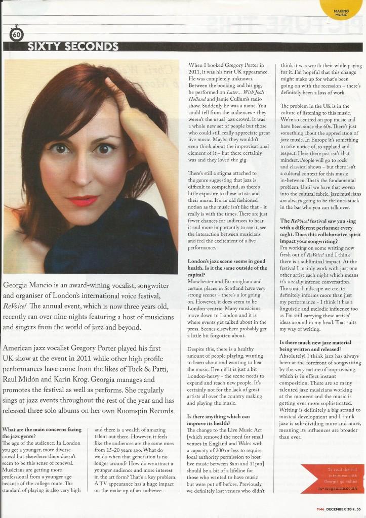 Georgia Mancio interview M Magazine