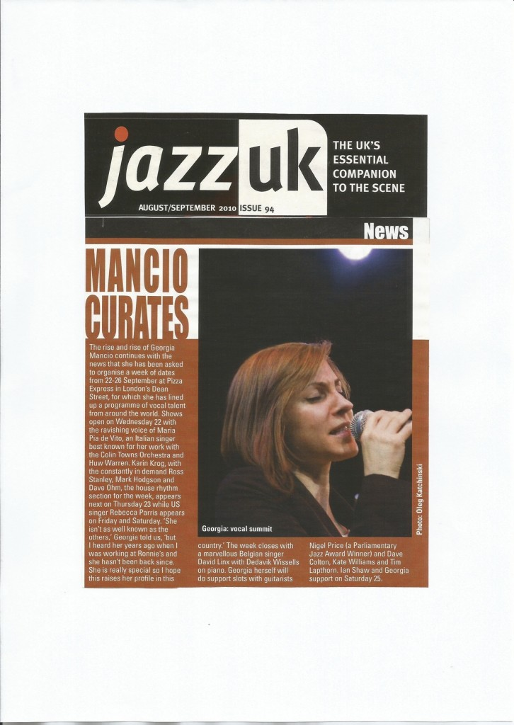 Georgia Mancio's first international voice festival