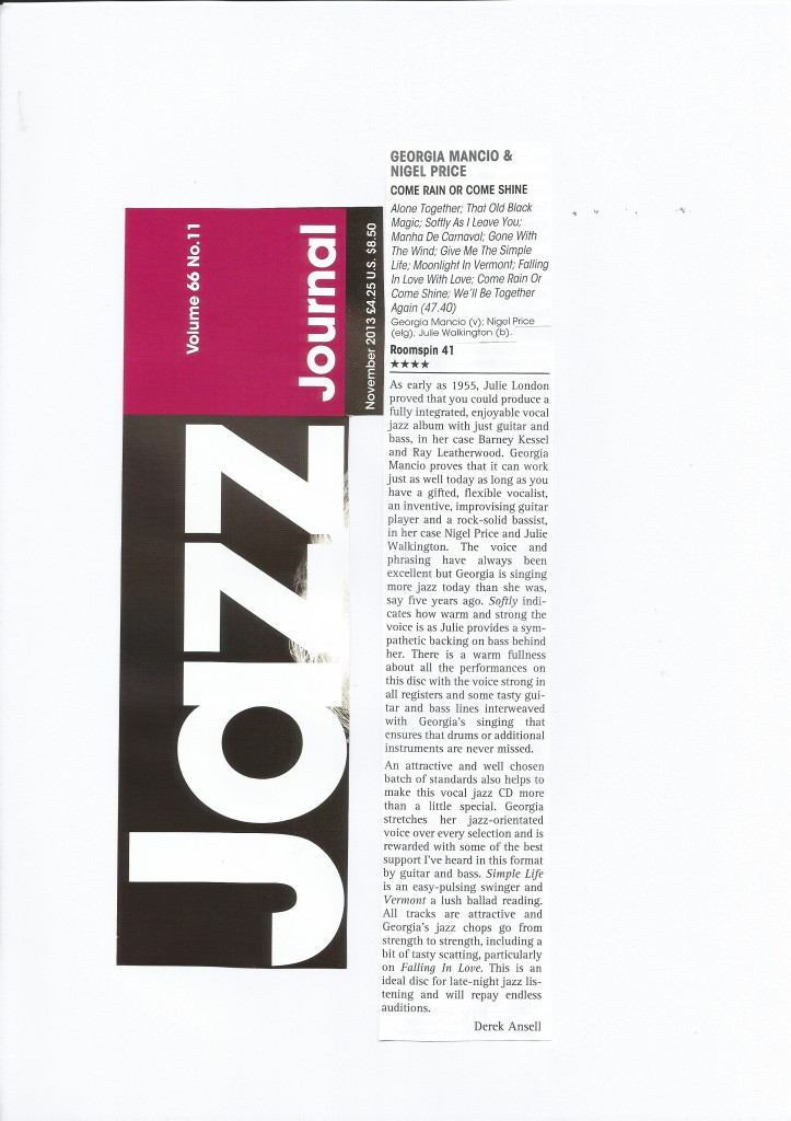 Jazz Journal review Come Rain or Come Shine